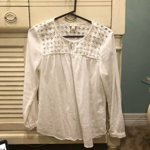 J. Crew White Long Sleeve Embroidered Blouse